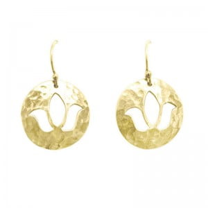 yellow gold lotus earrings