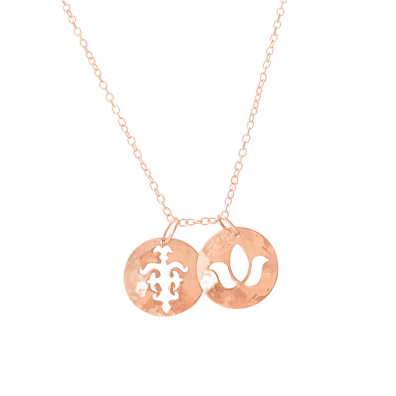 double pendant necklace rose gold