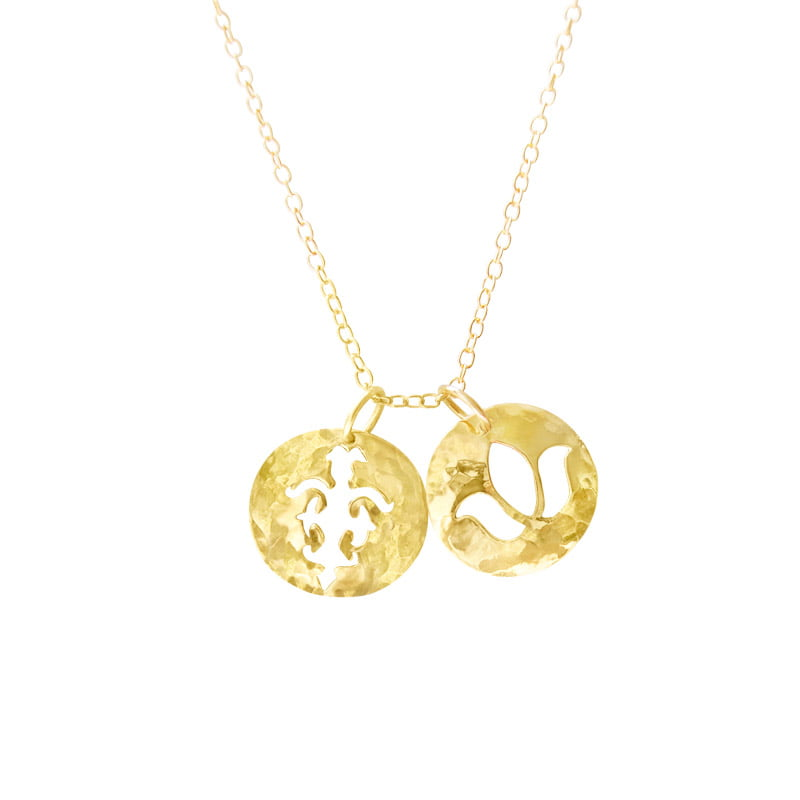 double pendant necklace yellow gold