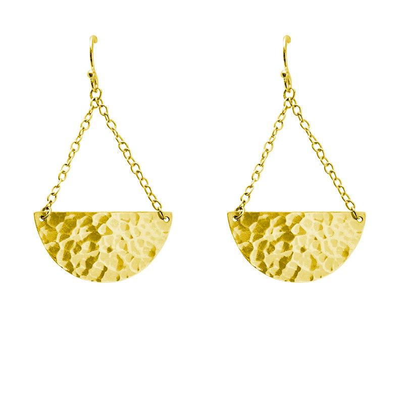gold half circle earrings