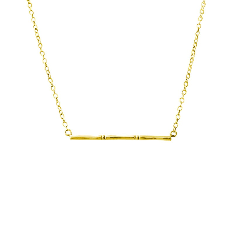 yellow gold bamboo necklace