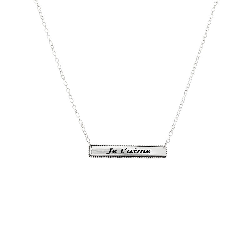 je t'aime bar necklace