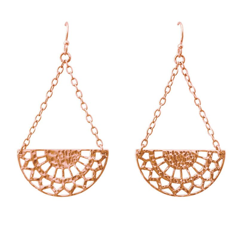 half circle earrings rose gold