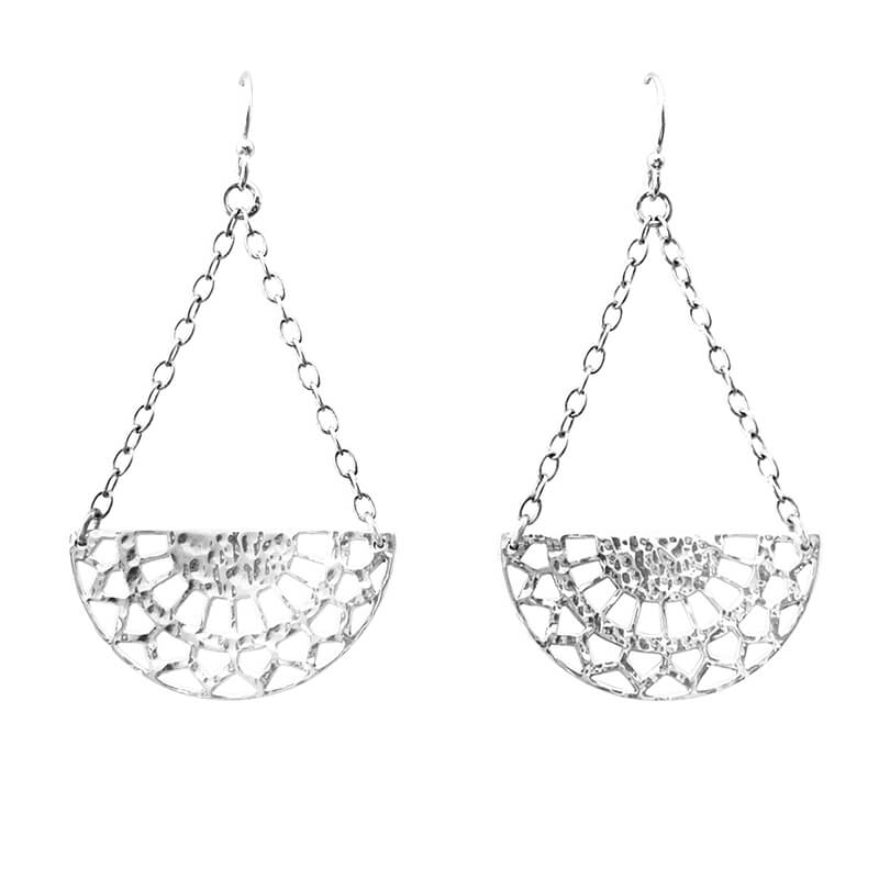 half circle earrings silver