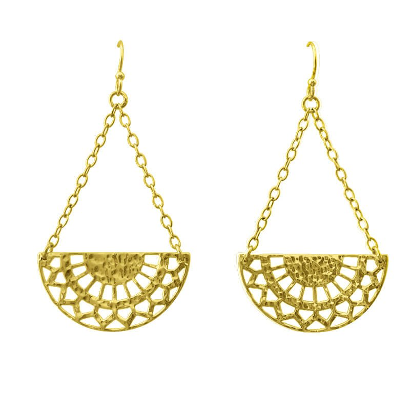 half circle earrings yellow gold