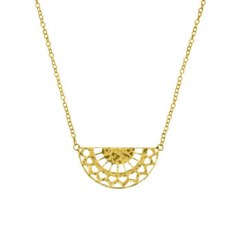 half circle necklace yellow gold