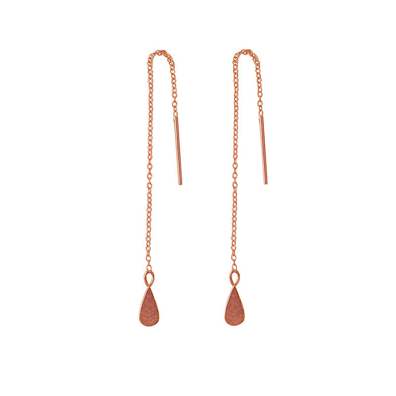 rose gold thread earrings
