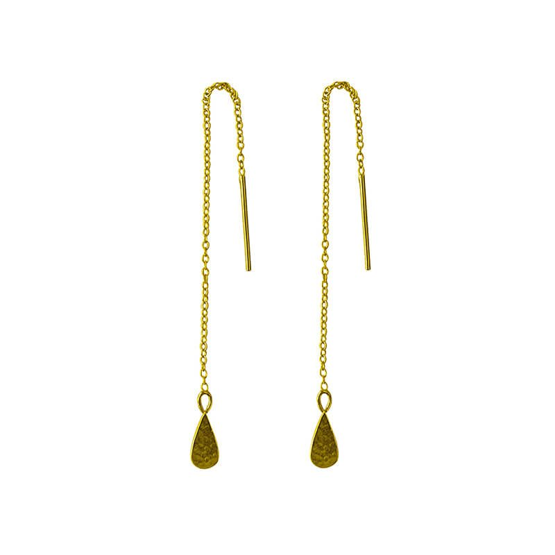 yellow gold thread earrings