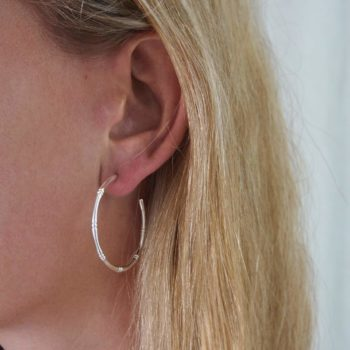 Bamboo Hoops Sterling Silver