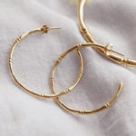 Bamboo hoop earrings in 18 KT Yellow Gold plate