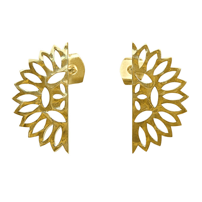 lace edge earrings yellow gold