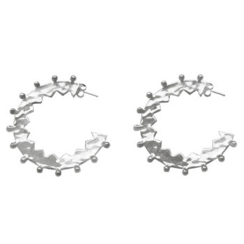 silver zigzag hoop earrings