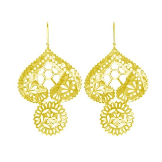 LACE DOILY EARRINGS IN 18KT YELLOW GOLD