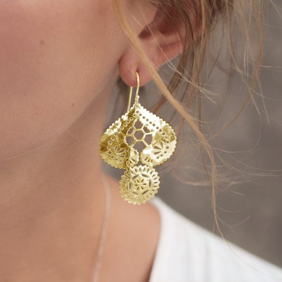 Vintage Lace earrings gold