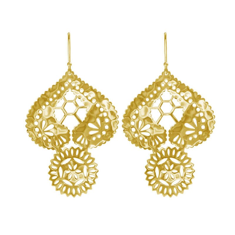 Lace Doily Earrings in gold