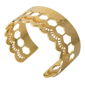Vintage Lace Open Cuff bangle in 18KT yellow gold plate