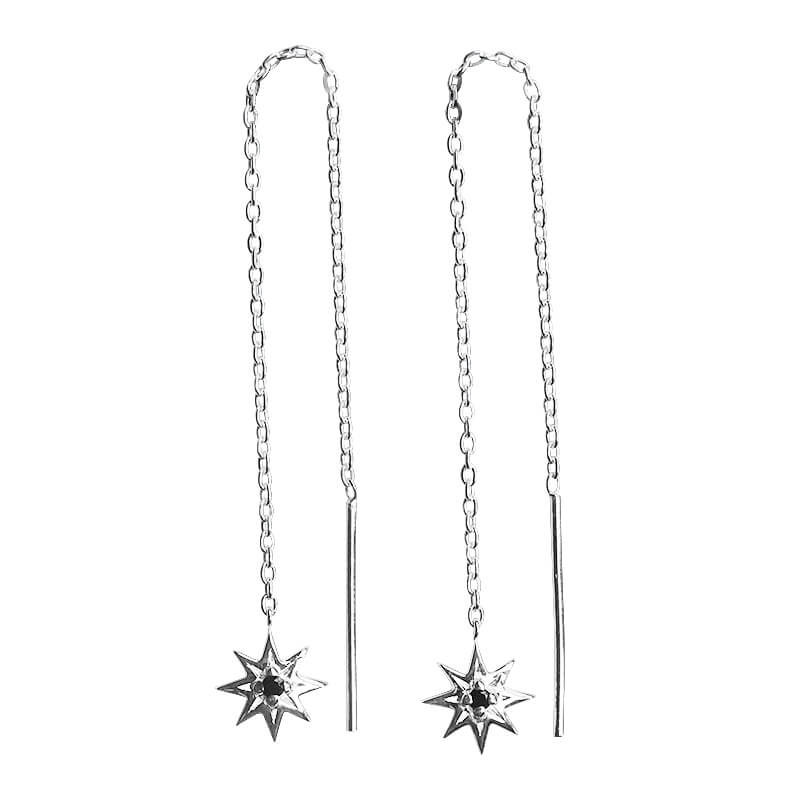 silver star chain earrings