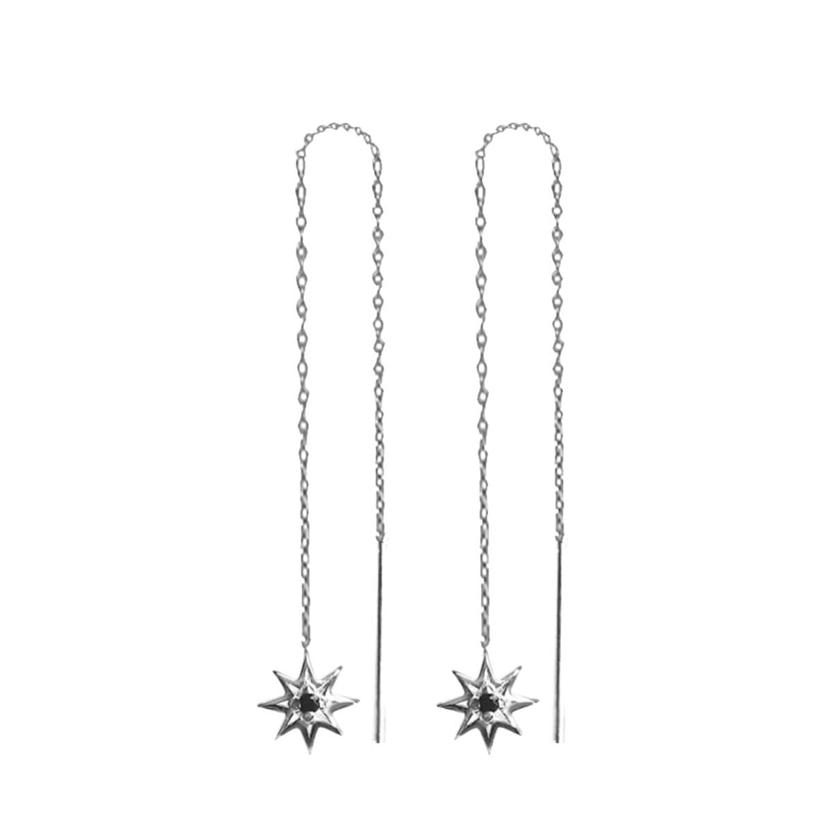 Falling Star Thread Earrings In Sterling Silver Murkani