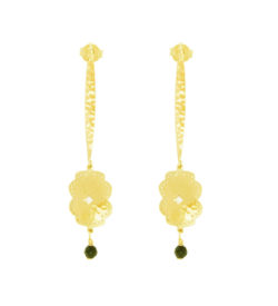 yellow gold long earrings