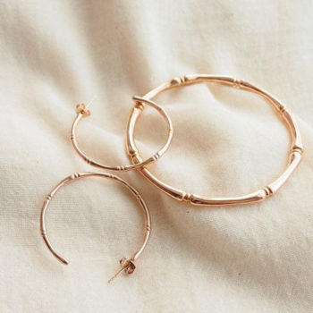 Bamboo hoop earrings in Rose Gold Plate