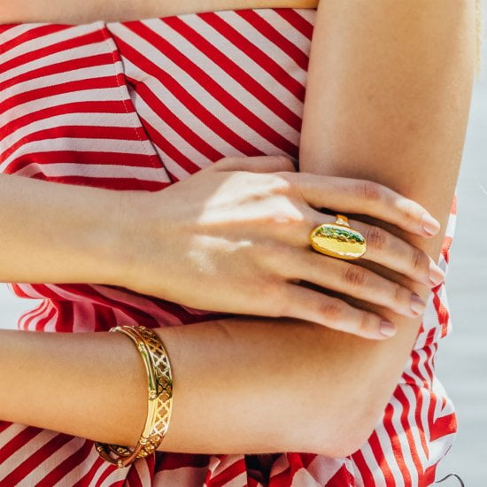 yellow gold oval ring