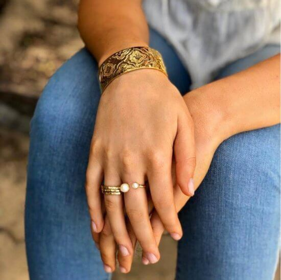 stacking rings in 18 KT Yellow Gold Plate
