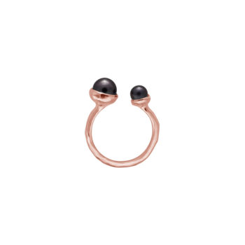 Riviera Double Pearl Ring in Rose Gold PLate