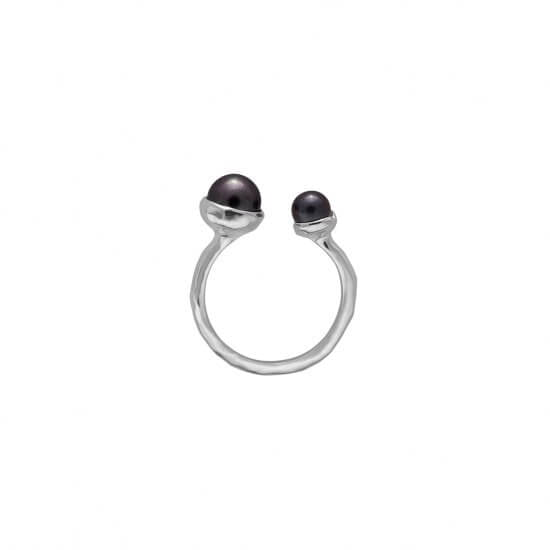 Riviera Double Pearl Ring in Sterling Silver with Black Pearls