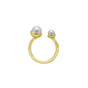 Riviera Double Pearl Ring in 18KT Yellow Gold Plate