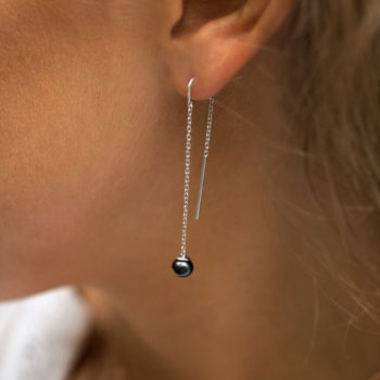 RIVIERA Pearl Thread Earrings with Black Pearl