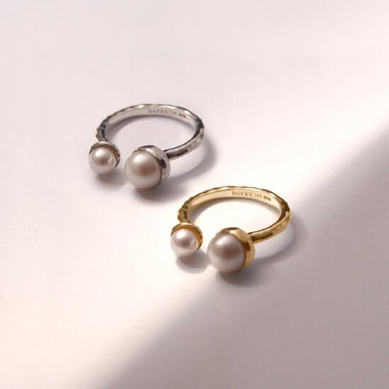 Silver gold Pearl ring