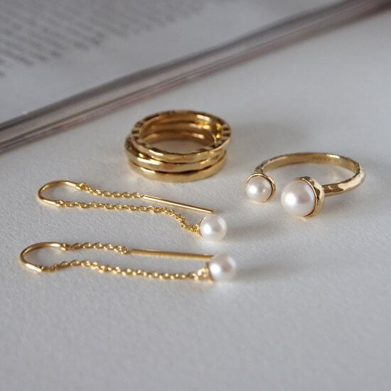 Riviera Pearl Ring Gold