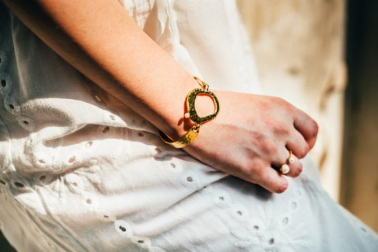 yellow gold pearl bangle