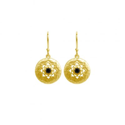 Andalusia Small Hanging Earrings in 19 KT Yellow Gold with Black Spinel