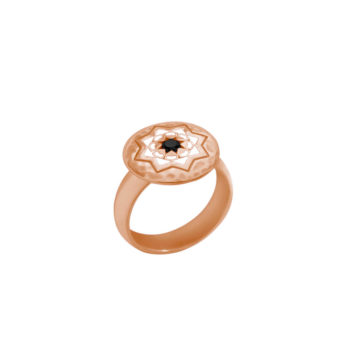 Rose gold ring black spinel
