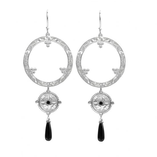 ethnic style long earrings in sterling silver