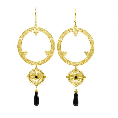 ethnic long earrings in gold with black spinel