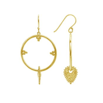 Architectural gold earrings