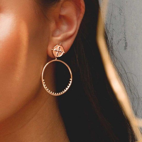 Sahara Large Hoop Earrings in Rose Gold Plate