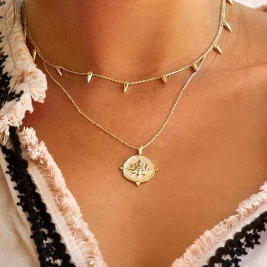 Blooming Lotus Necklace 18 KT Yellow Gold Plate