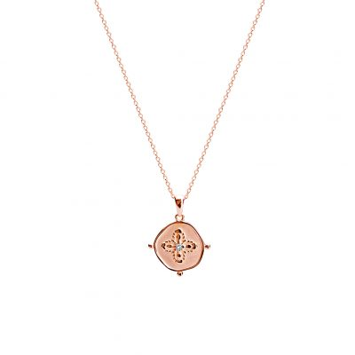 Sahara Medallion Necklace in Rose Gold Plate with White Topaz