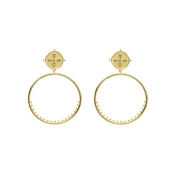 Sahara Large Hoop Earrings in 18 KT Yellow Gold Plate