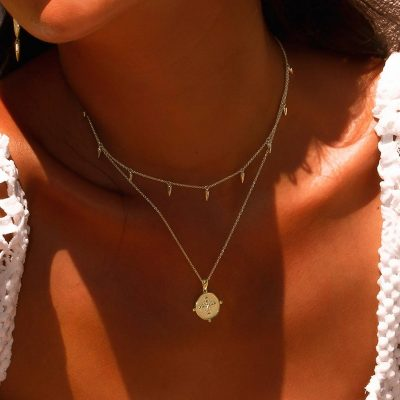 Sahara Medallion Necklace in 18 KT Yellow Gold Plate with White Topaz