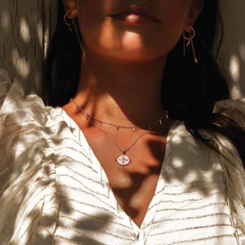 Sahara Medallion Necklace in Rose Gold Plate
