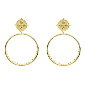 Large Hoop Earrings in 18 KT Yellow Gold Plate