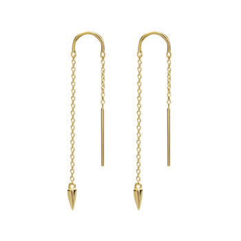 Dagger Thread Earrings in 18 KT Yellow Gold Plate