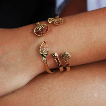 Lace Doily Open Cuff in 18 KT Yellow Gold