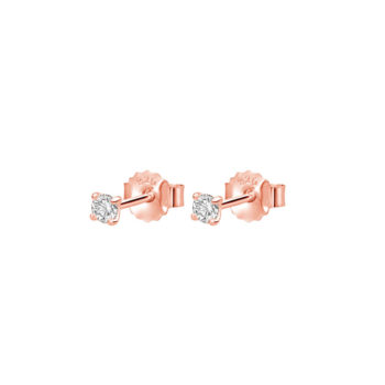 3mm Studs with White Topaz in Rose Gold Plate