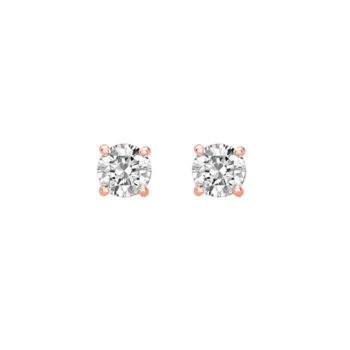 6mm Studs with White Topaz in Rose Gold Plate