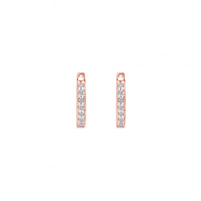 11mm Hoop Earrings with White Topaz in Rose Gold Plate